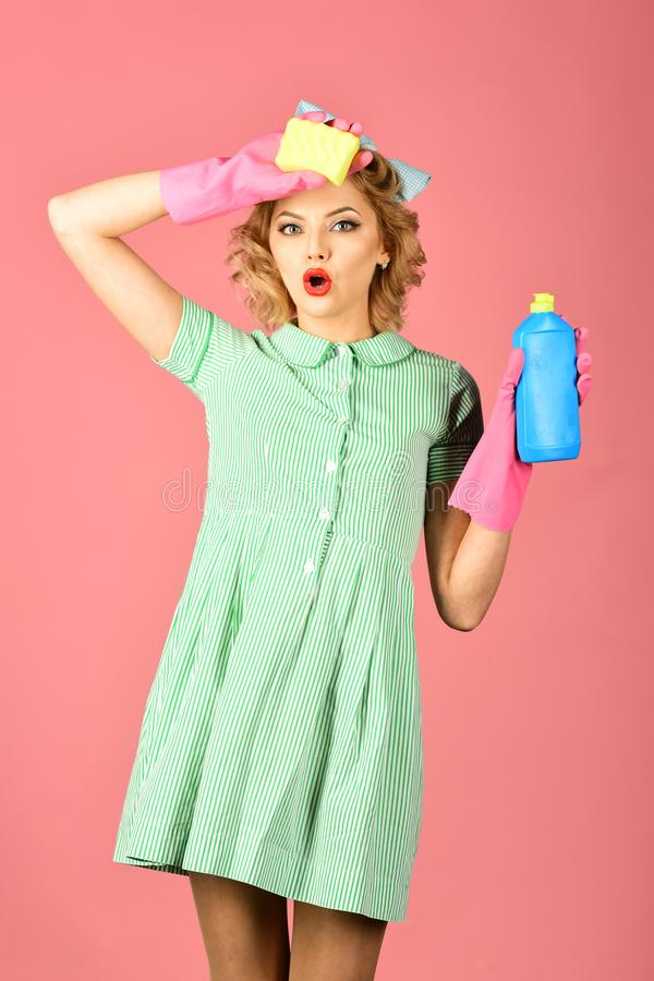 Cleaning, retro style, purity stock photography