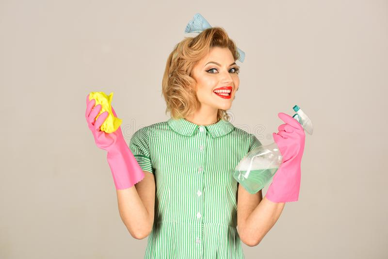 Cleaning, retro style, purity. stock photography