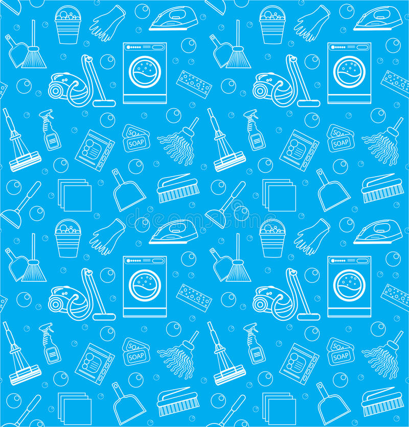 Cleaning seamless pattern. endless background, texture, wallpaper. Vector illustration vector illustration