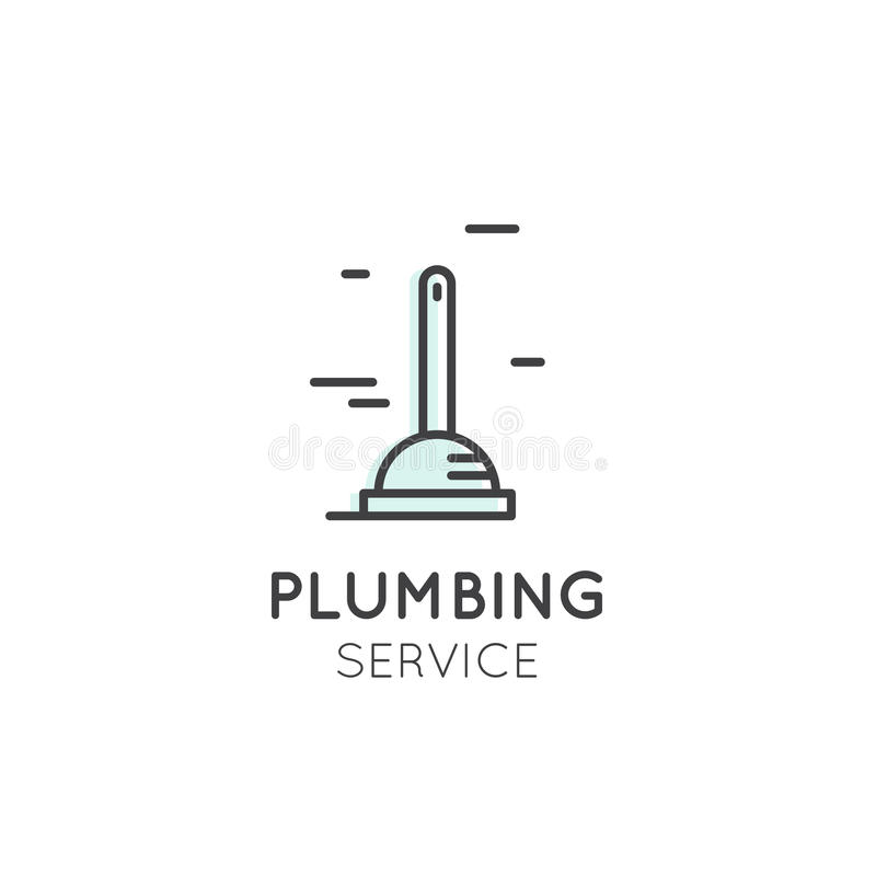 Cleaning Service, Plumbing, Dishwashing, Household Company Oncept商标  库存例证