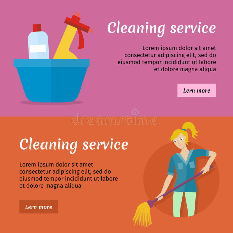 Cleaning Service Advertisement Cards Set. Poster Stock Vector ...