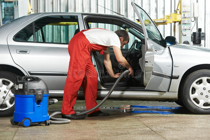Cleaning service of automobile vacuum clean stock images