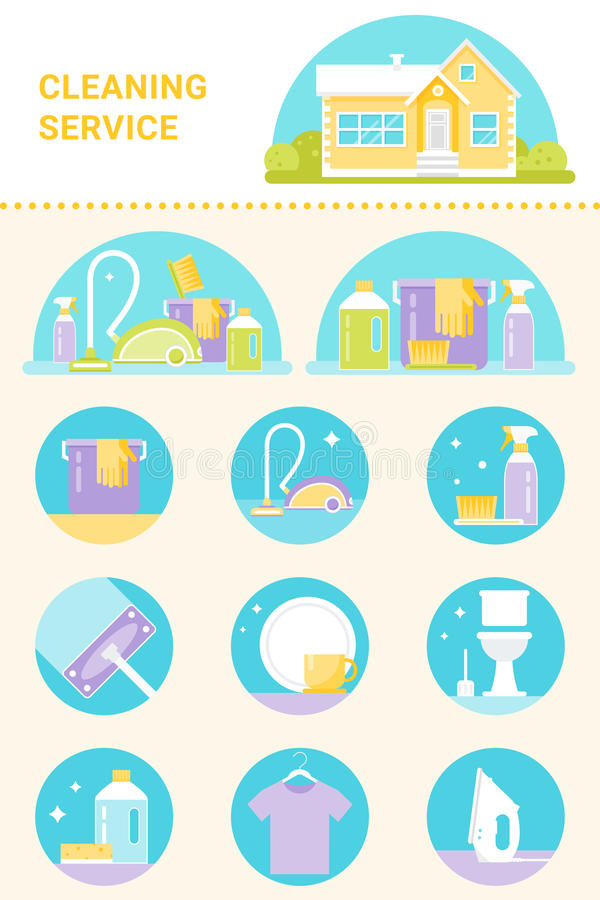 Cleaning Service, Cleaning Agents and Tools Illustrations and Icons Vector Set stock illustration