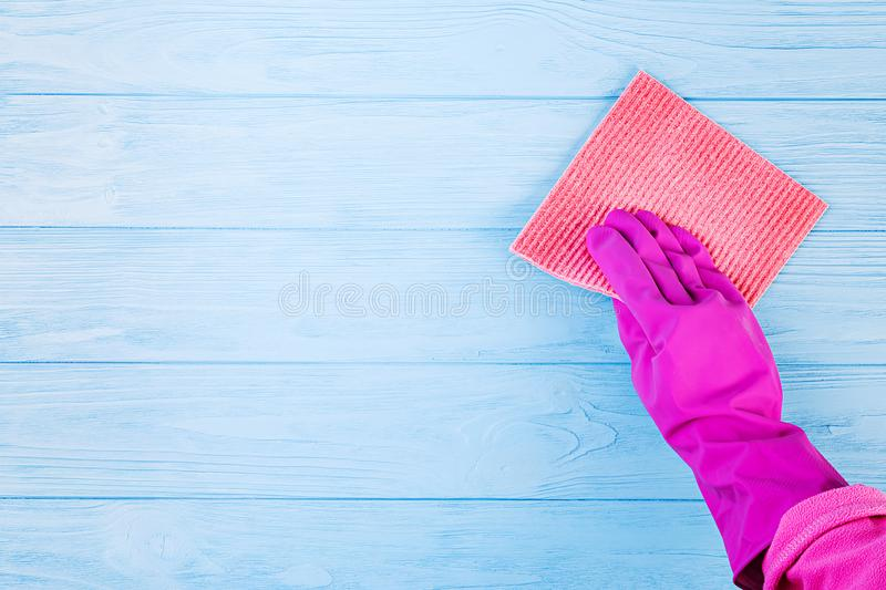 Cleaning service concept. Cleaning service, small business idea, spring cleaning concept. Flat lay, Top view stock image