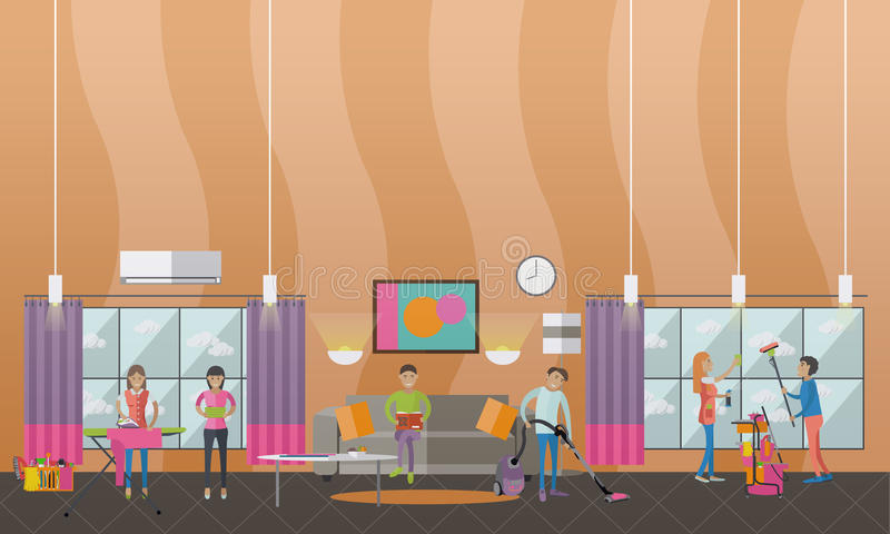 Cleaning Service Concept Vector Banner People Clean House Apartment Living Room Interior
