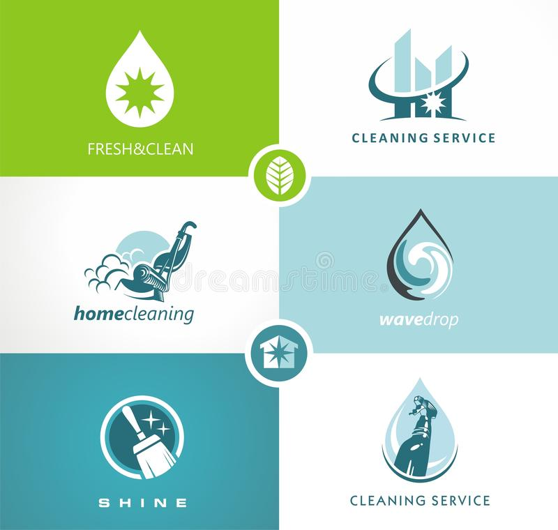 Cleaning service creative concept with set of icons. stock illustration