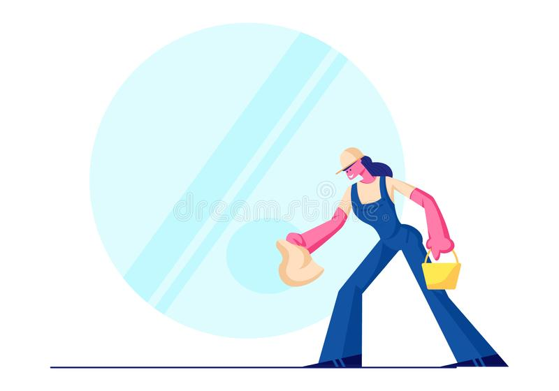 Cleaning Service, Female Character Wearing Blue Uniform Overalls Washing and Wiping Window with Rag. Woman Employee vector illustration