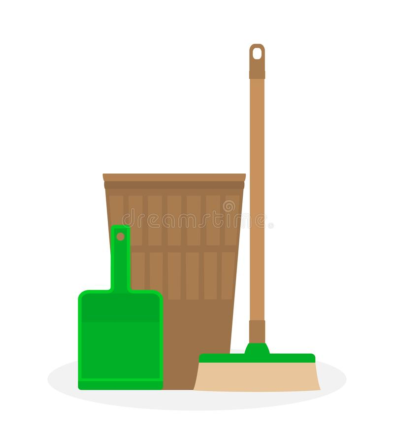 Cleaning service in a flat style. Household appliances tools: scoop for dust, mop and basket . vector illustration