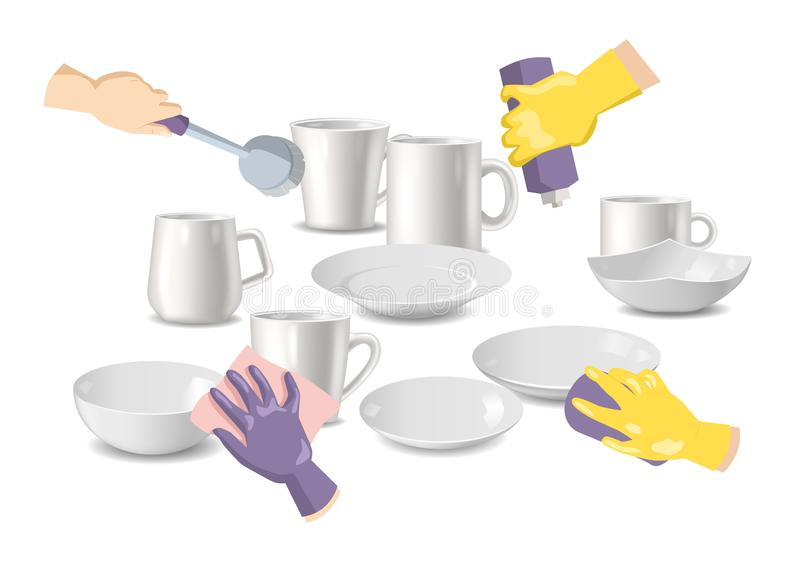 Cleaning service and household hygiene vector illustration. Hands in yellow gloves holding sponge scrubbing the dirty stock illustration