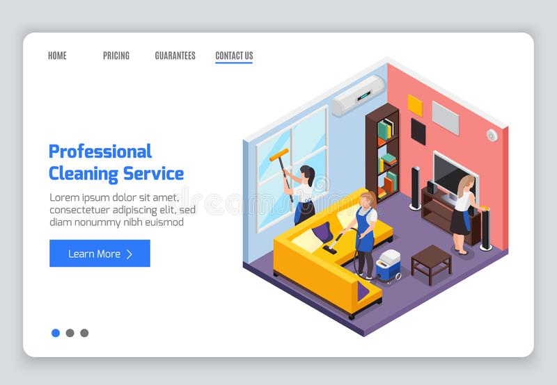 Cleaning Service Landing Page royalty free illustration