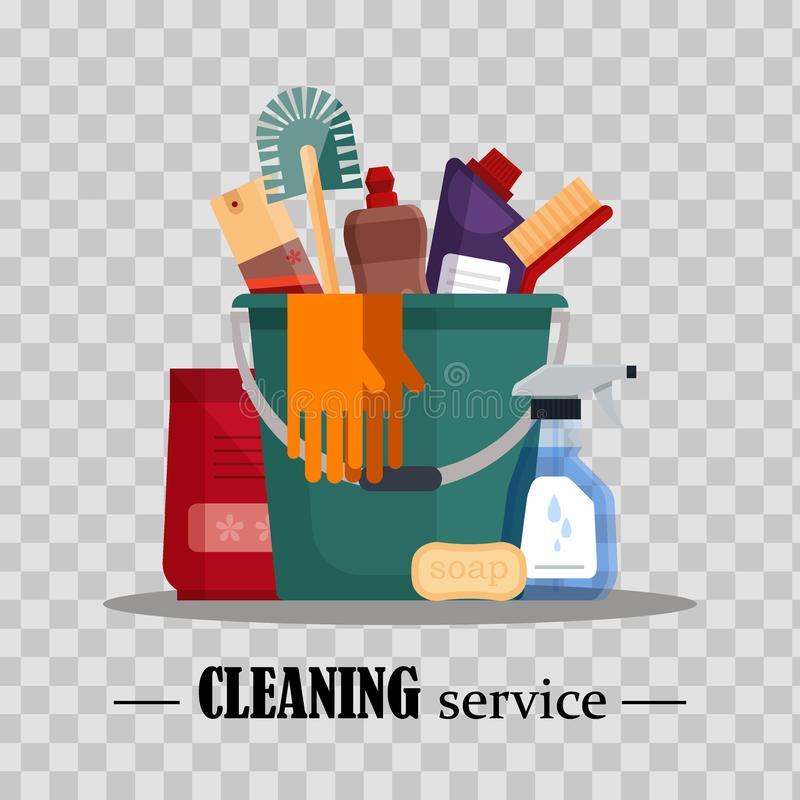 Free Cleaning Service. Set House Cleaning Tools In Bucket On Transparent Background. Detergent And Disinfectant Products Stock Photos - 121393213