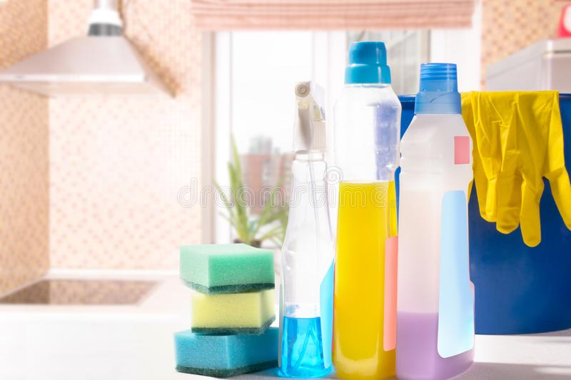 Cleaning set. Spring clean up. On blurry background royalty free stock image