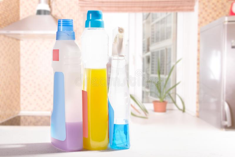Cleaning set. Spring clean up. On blurry background royalty free stock photos