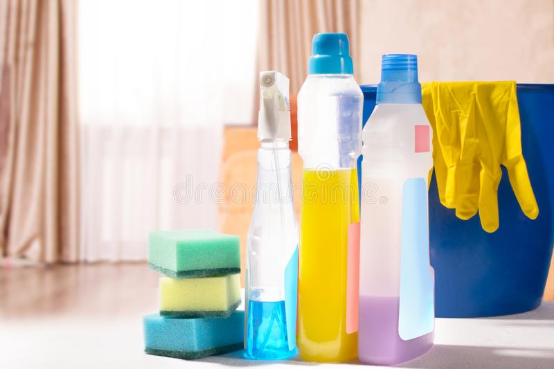 Cleaning set. Spring clean up. On blurry background stock photo