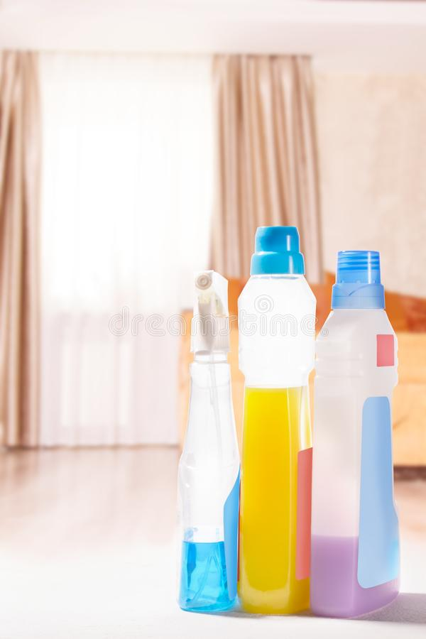 Cleaning set. Spring clean up. On blurry background stock photos