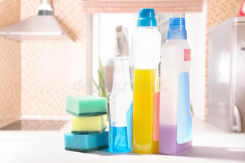 Cleaning set. Spring clean up. On blurry background royalty free stock images