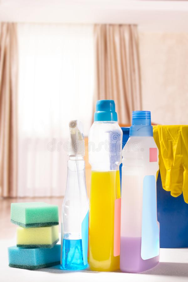 Cleaning set. Spring clean up. On blurry background stock image
