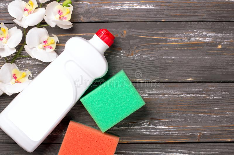 Cleaning set. Spring clean up. On grey background stock photo
