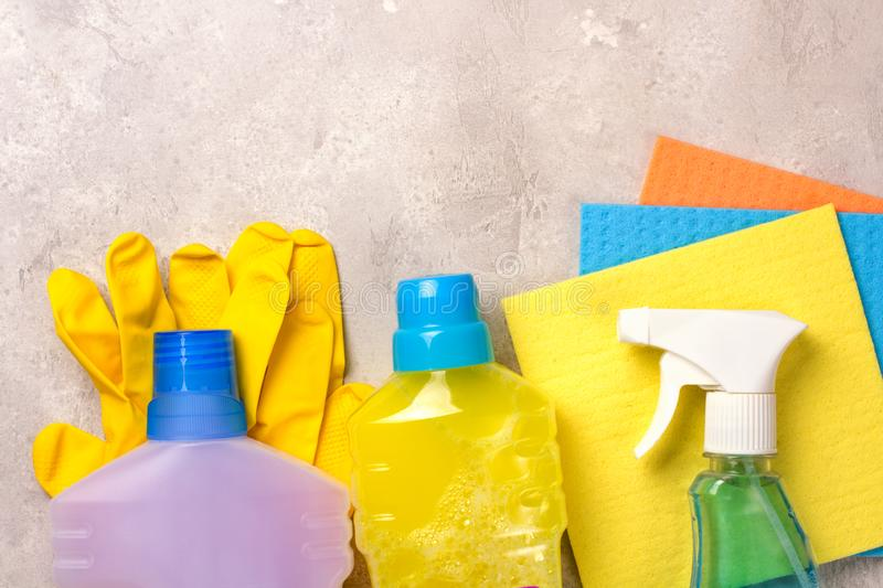 Cleaning set. Spring clean up. On grey background royalty free stock photos