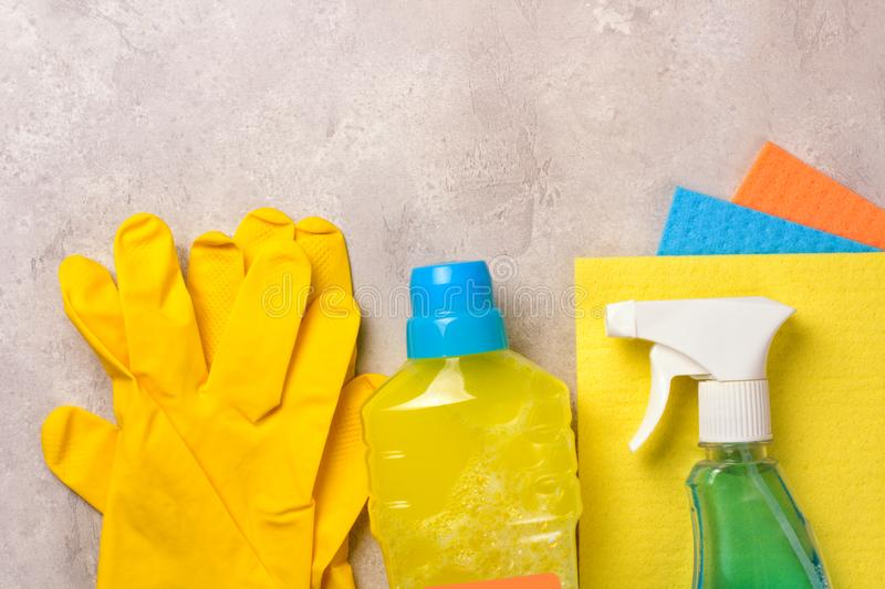 Cleaning set. Spring clean up. On grey background stock images