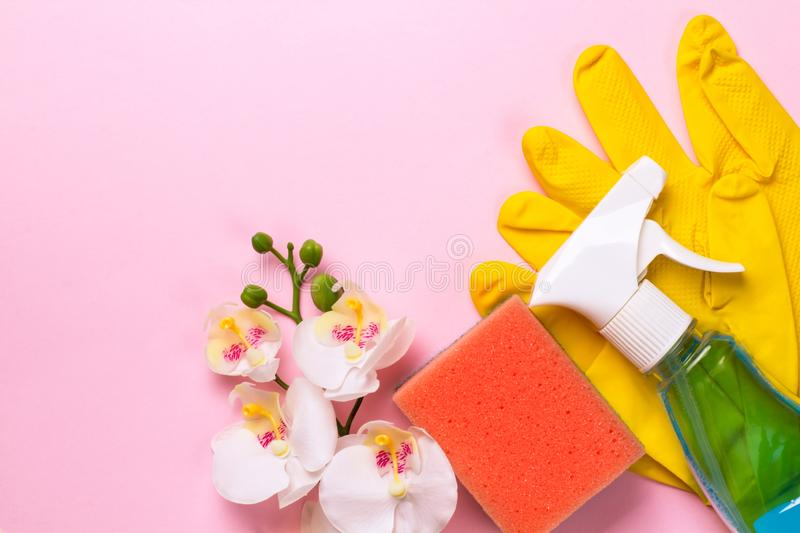 Cleaning set. Spring clean up. On pink background royalty free stock photos