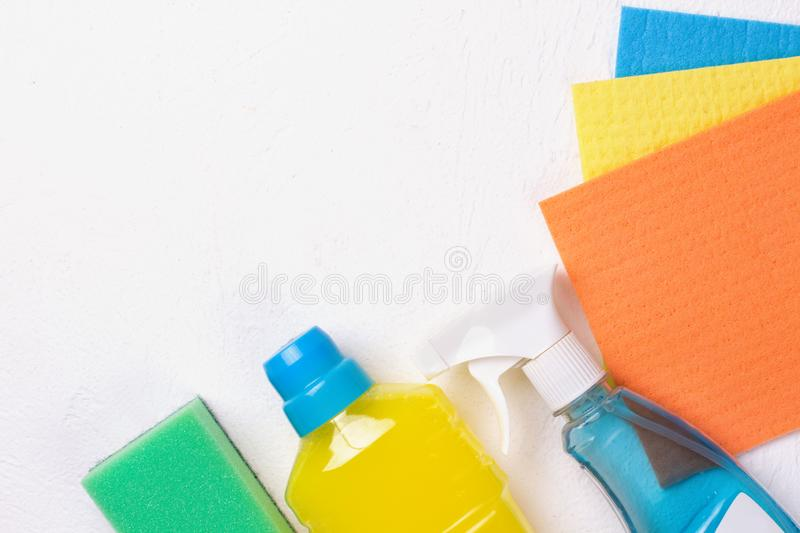 Cleaning set. Spring clean up. On white background royalty free stock photo