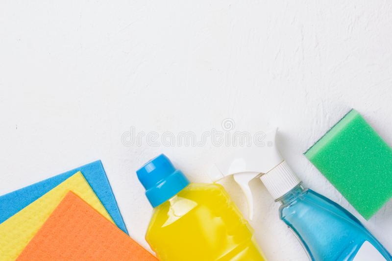 Cleaning set. Spring clean up. On white background stock image