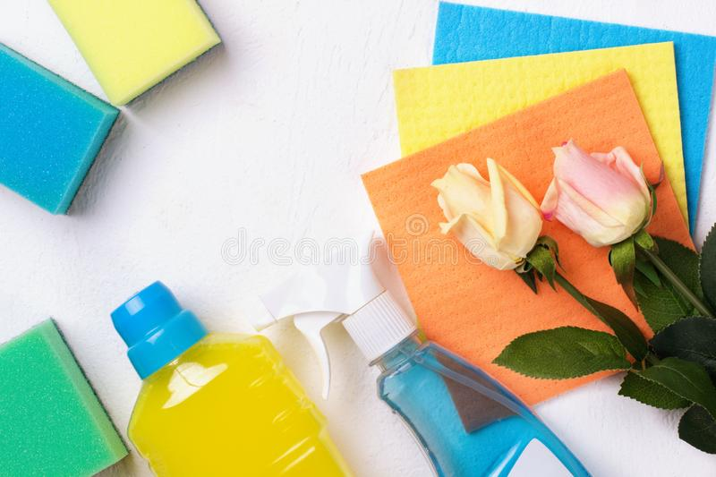 Cleaning set. Spring clean up. On white background stock photography