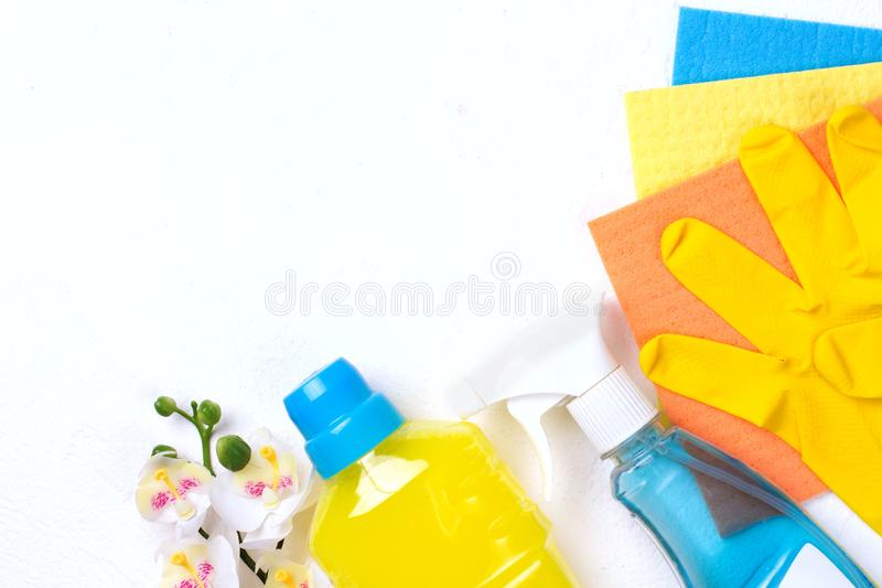 Cleaning set. Spring clean up. On white background royalty free stock image