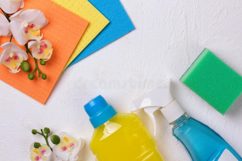 Cleaning set. Spring clean up. On white background stock images