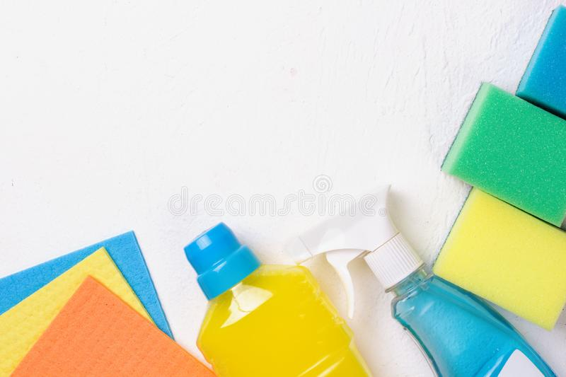 Cleaning set. Spring clean up. On white background stock photos