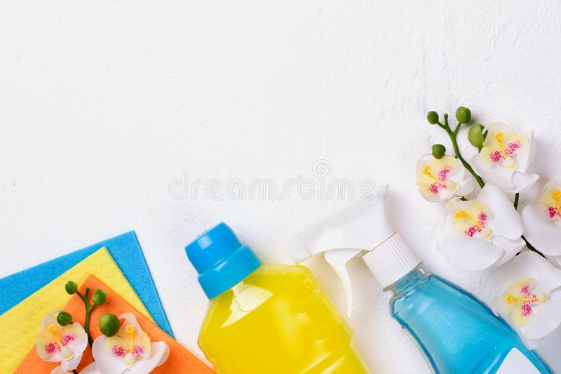 Cleaning set. Spring clean up. On white background royalty free stock images