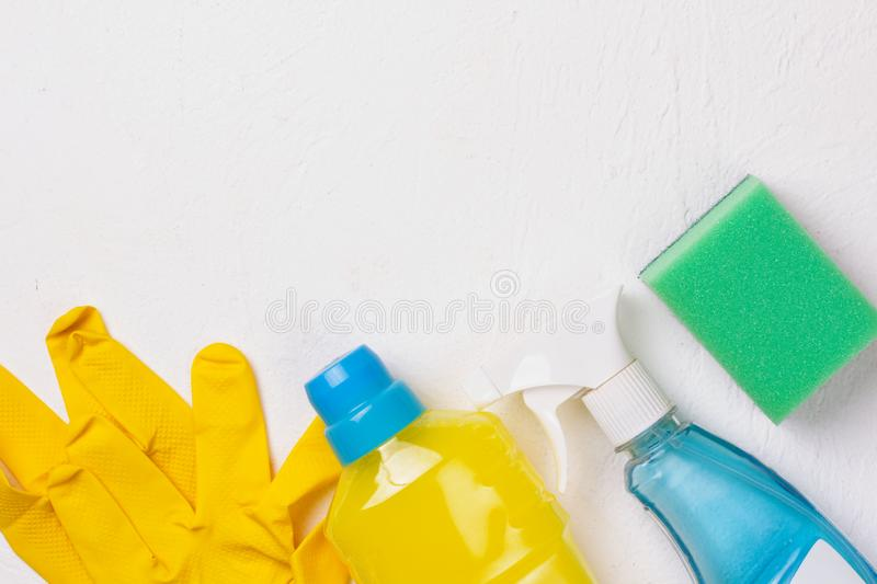 Cleaning set. Spring clean up. On white background royalty free stock photos