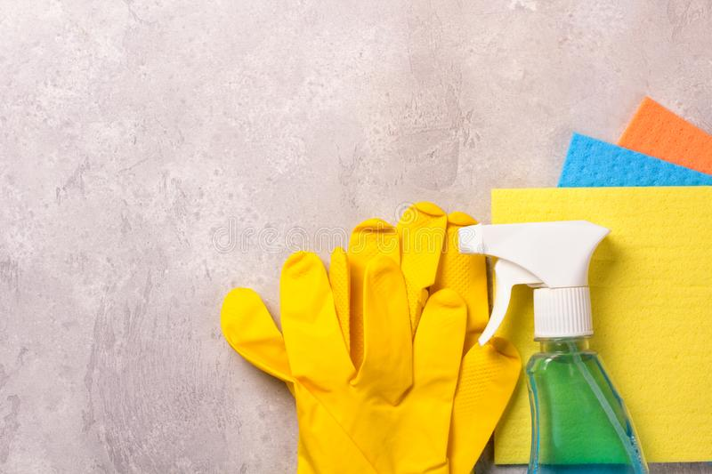 Cleaning set. Spring clean up. On grey background stock photos