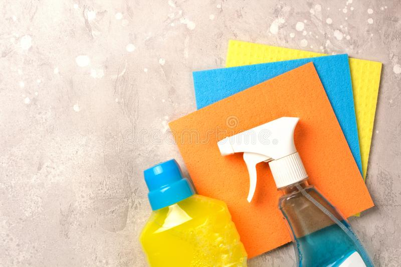 Cleaning set. Spring clean up. On grey background stock photography