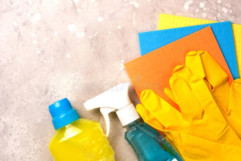 Cleaning set. Spring clean up. On grey background royalty free stock photography