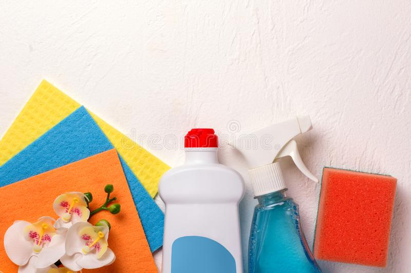 Cleaning set. Spring clean up stock photo