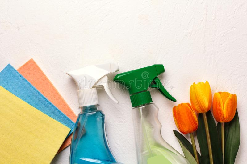 Cleaning set. Spring clean up. On white background stock photo