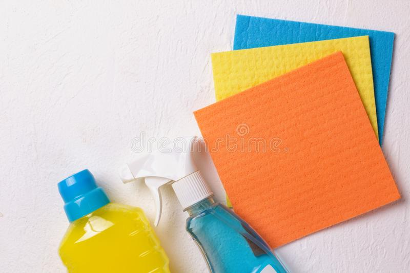 Cleaning set. Spring clean up. On white background royalty free stock photography