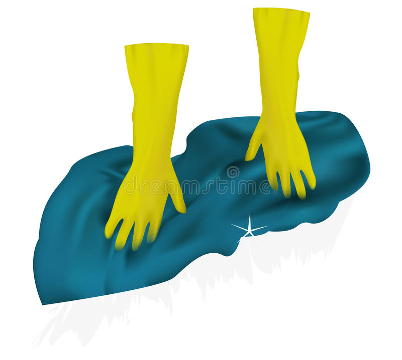 Cleaning. Shoe. Rubber gloves. Wash the floor. royalty free illustration