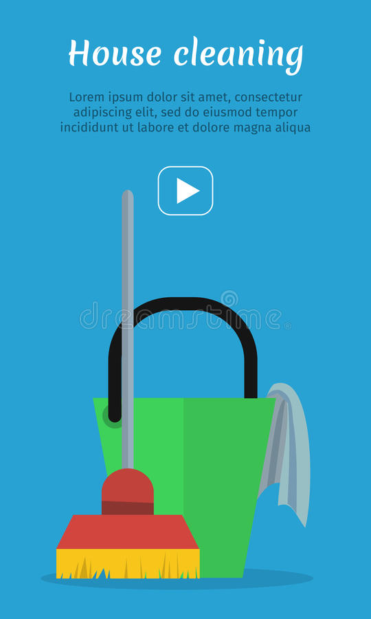 Cleaning sieci sztandar Wiadro z Duster i miotłą ilustracji