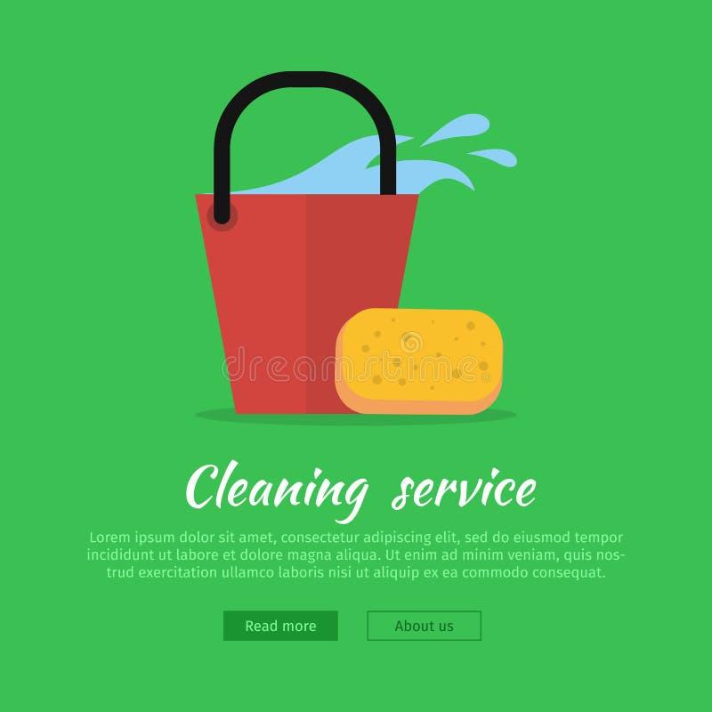 Cleaning sieci sztandar Wiadro z wodą i gąbką royalty ilustracja