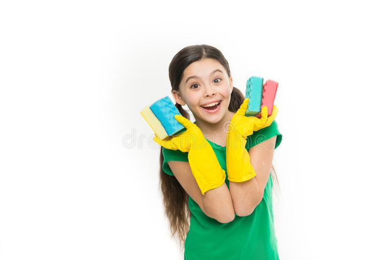 Cleaning with sponge. Cleaning supplies. Girl in rubber gloves for cleaning hold many colorful sponges white background royalty free stock photography