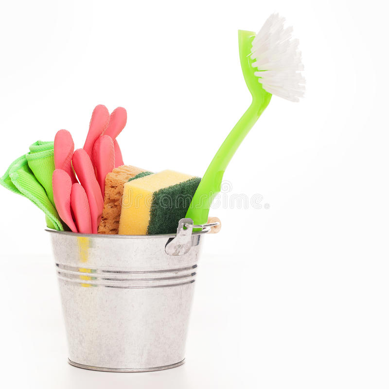 Cleaning Sponges In A Silver Pail Stock Images
