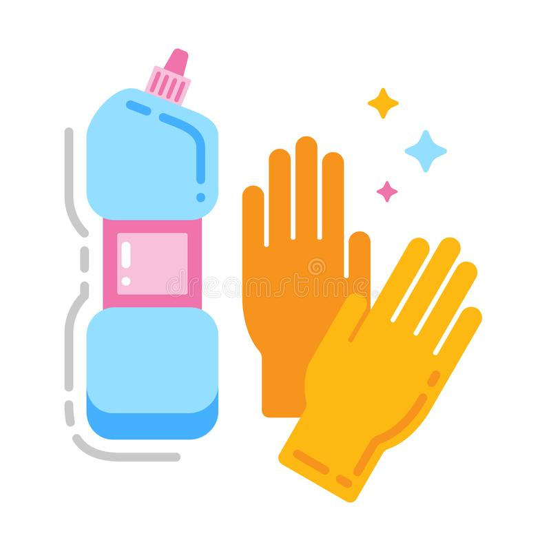 Cleaning stuff and glove flat color icon. Cleaning service concept. Isolated flat drawing. royalty free illustration