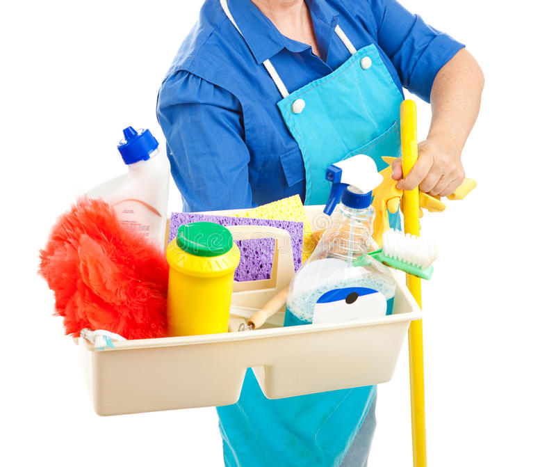 Cleaning Supplies. Maid holding cleaning supplies. White background stock photography