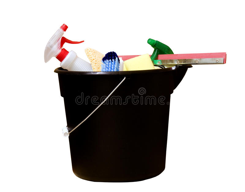 Cleaning supplies. Housekeeping bucket full of cleaning supplies isolated over a white background with a clipping path at original size stock photography