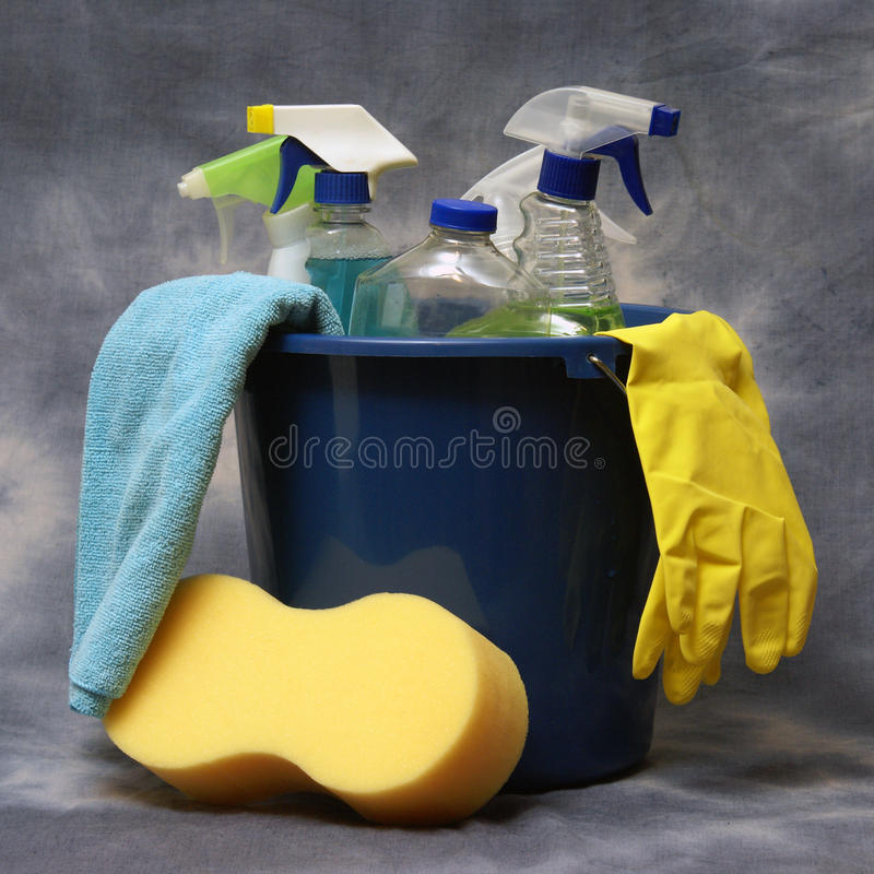 Cleaning Supplies. Ready to get the job done stock images