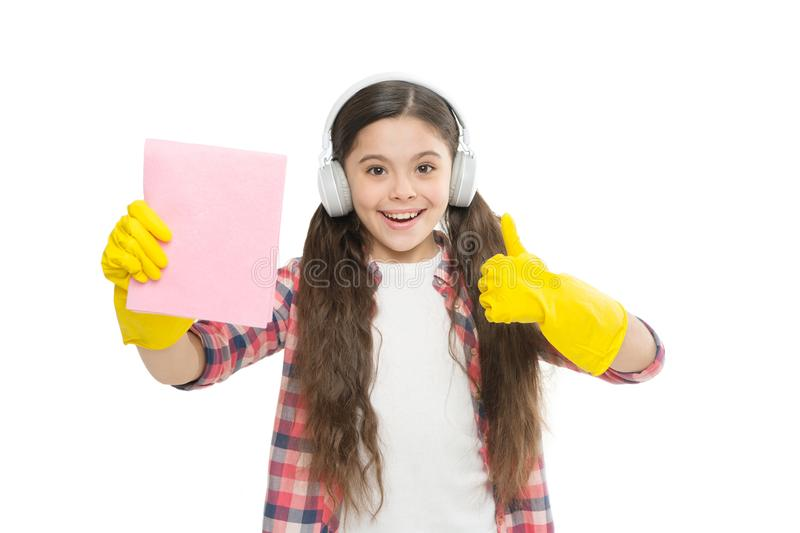 Cleaning supplies. Anti allergen cleaning products. Let music move you. Girl headphones and gloves cleaning. Make royalty free stock images