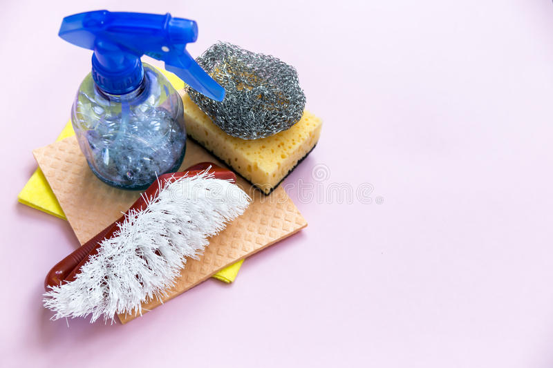 Cleaning supplies belonging to the owner of the apartment royalty free stock images